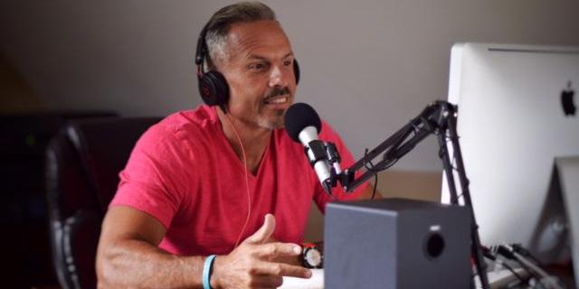 Dr. Jay LaGuardia mid recording in his studio.