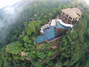 Aerial Photo of the Ubud Hanging Gardens Pool in Bali