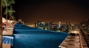 A night time shot of the Marina Bay Sands Infinity pool.