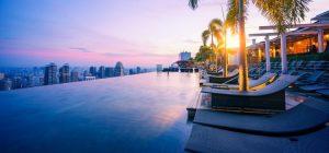 Beautiful Side Shot of Marina Bay Sands Infinity Pool Singapore