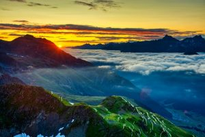 Beautiful Mountain Sunset with Clouds