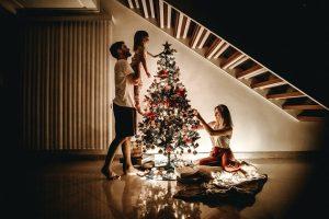 TriplePLife Couple and Child Decorating Christmas Tree