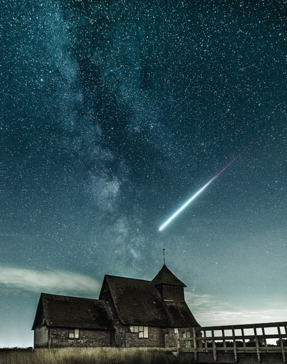 Falling Star Over House